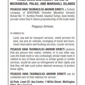 Cautionary Notice Pegasus Airlines in Micronesia 001