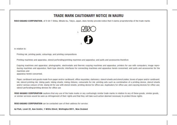 Cautionary Notice RISO IR logo in Nauru 001