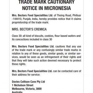 TRADE MARK CAUTIONARY NOTICE IN MICRONESIA Mrs. Bectors Food Specialities Ltd