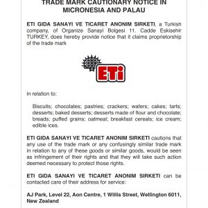 Cautionary notice in Micronesia and Palau for ETI logo Aug20