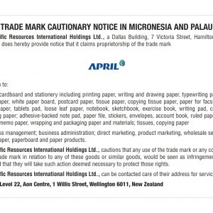 Cautionary Notice Micronesia and Palau ref 814779 80