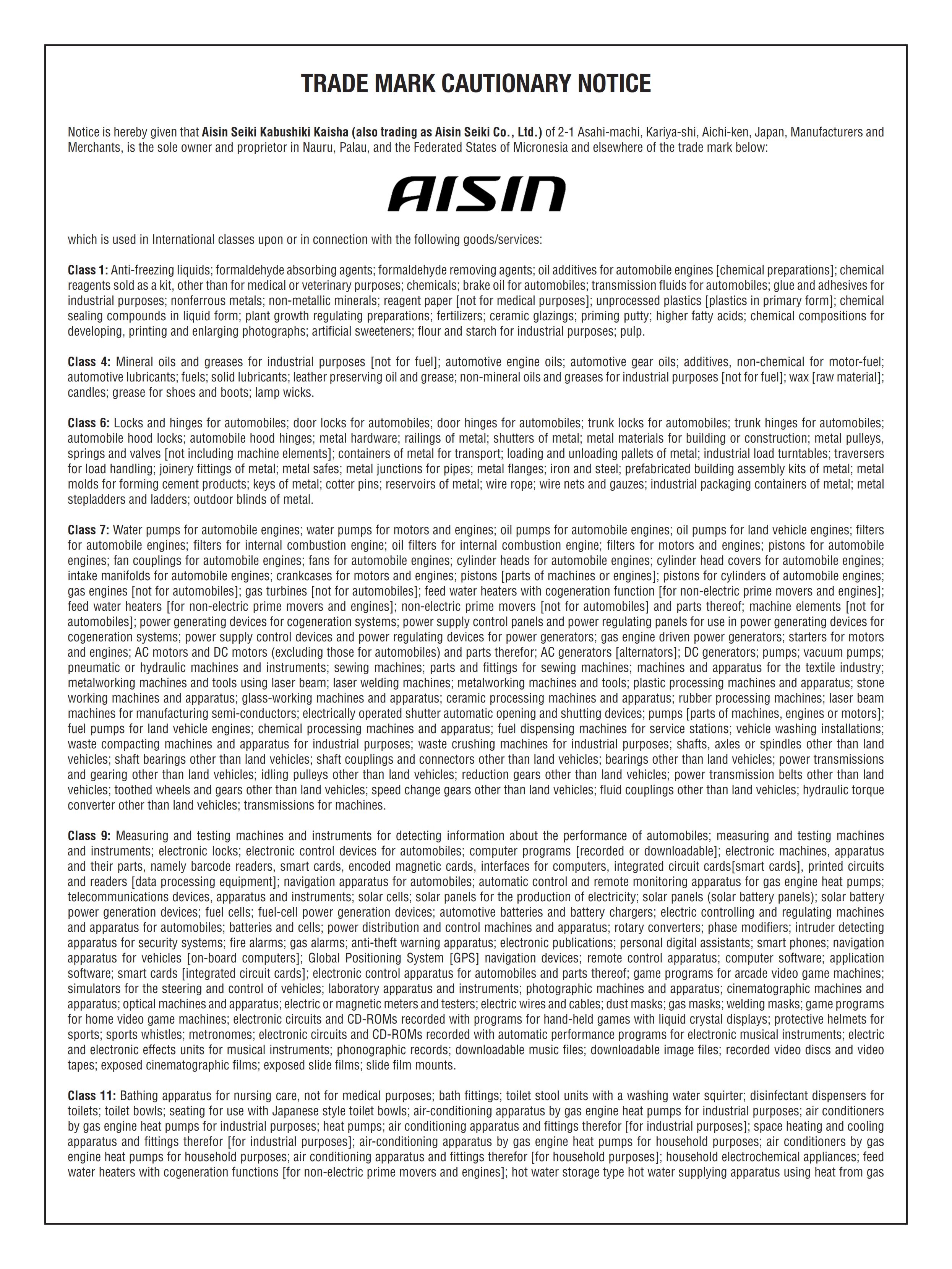 Cautionary Notice AISIN 3 001