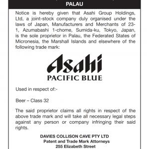 Cautionary Notice Asahi PACIFIC BLUE 001
