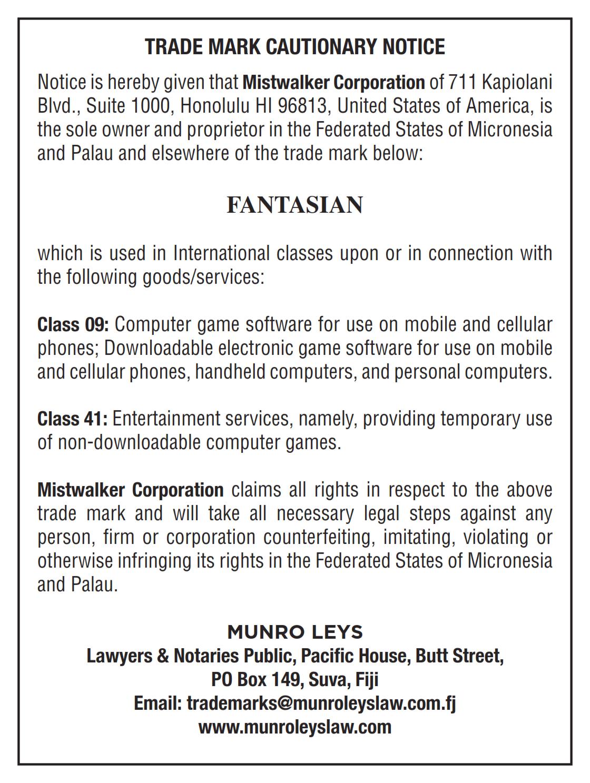 Cautionary Notice FANTASIAN 001