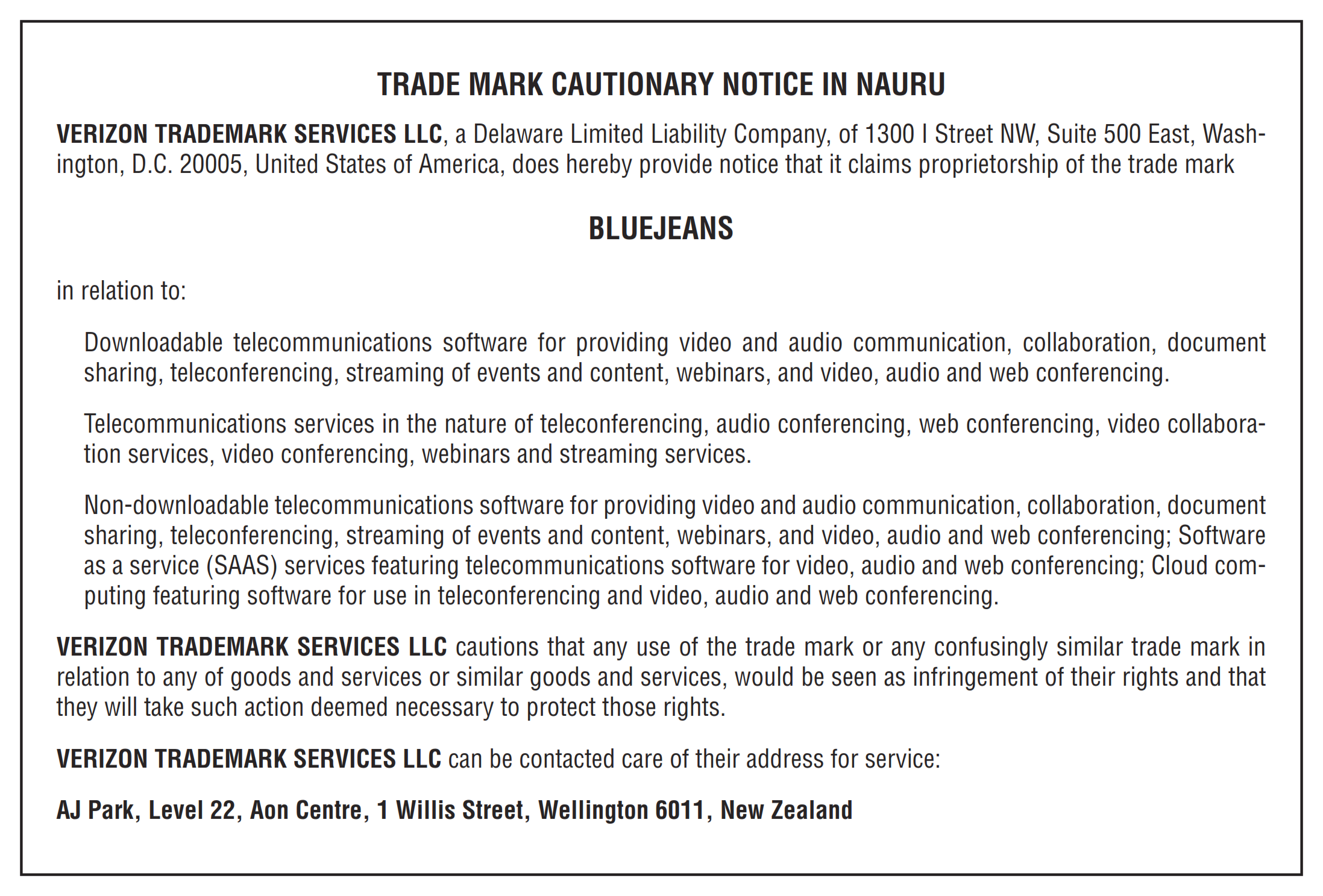 Cautionary notice BLUEJEANS in Nauru 001