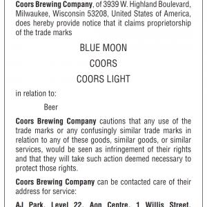 Cautionary notice Coors Brewing Company ref 680269 89 x 120mm vert Jan 2021 001