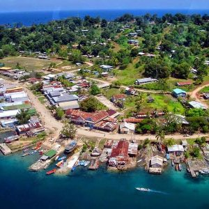 Aerial view of Gizo town