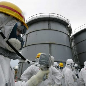 Inspectors at the site of the Fukushima power plant